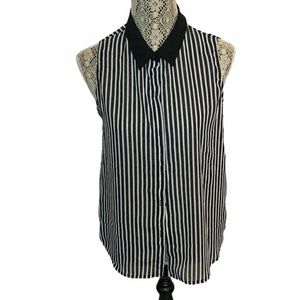 3/$30 Forever 21 Sleeveless Striped Button Up M